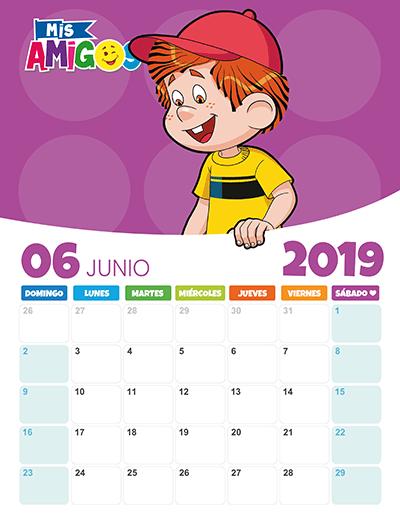 Calendario Mes Junio 2019.Calendario Junio 2019 Revista Mis Amigos